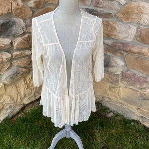 Lily White Sheer Lace Kimono